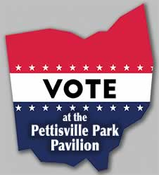 Vote at the Pettisville Park Pavilion.