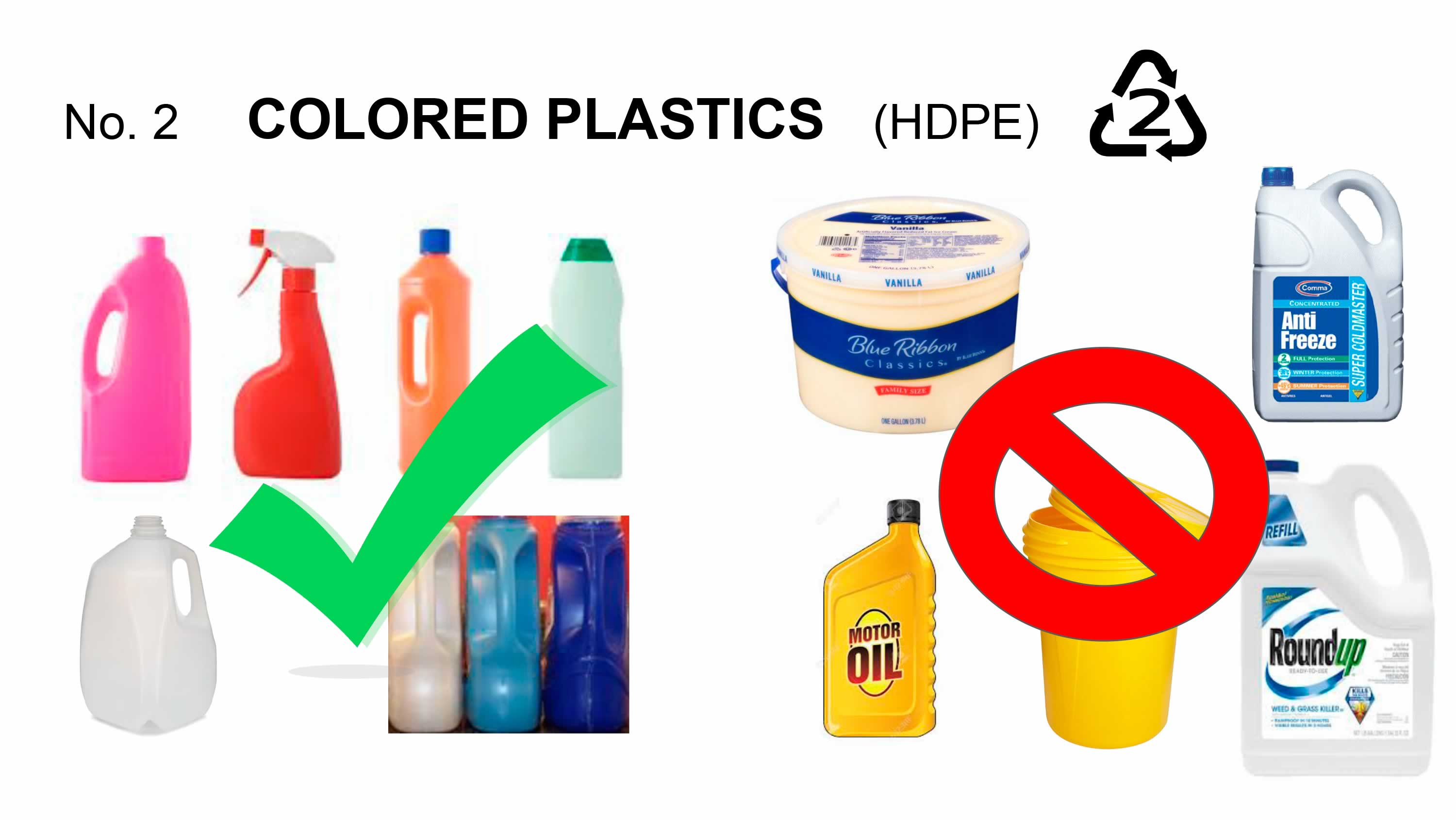 No. 2 Colored Plastics  HDPE